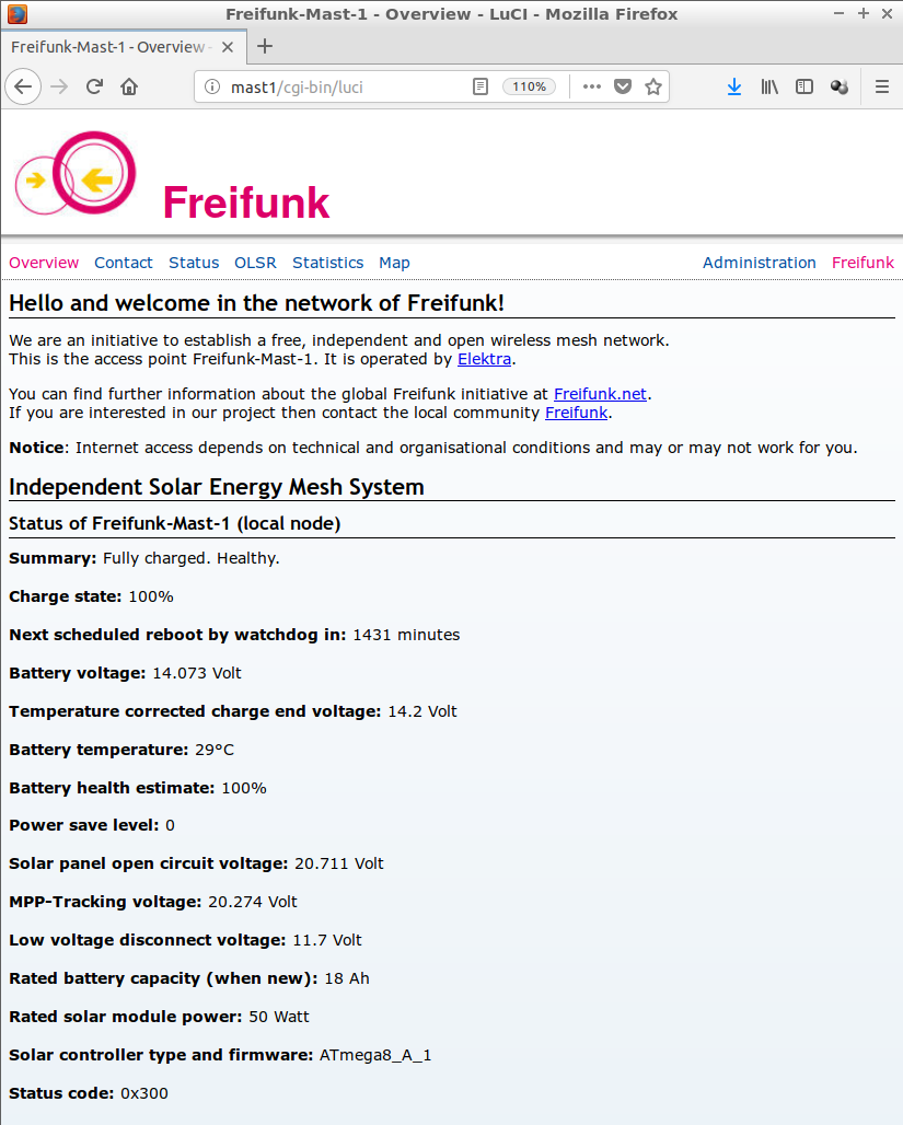ISEMS HTML status page embedded in Freifunk-Luci